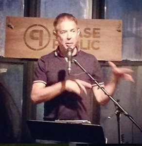 Me holding forth at Chase Public.