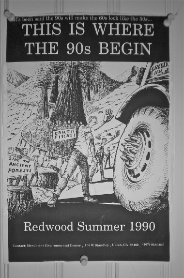 "The Redwood Summer poster, artwork by ""M,"" concept and slogans by yours truly."